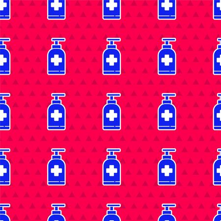 Blue Bottle of liquid antibacterial soap with dispenser icon isolated seamless pattern on red background. Antiseptic. Disinfection, hygiene, skin care. Vector