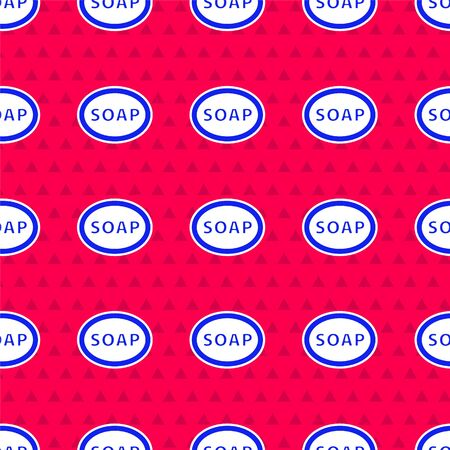 Blue Bar of soap icon isolated seamless pattern on red background. Soap bar with bubbles. Vector