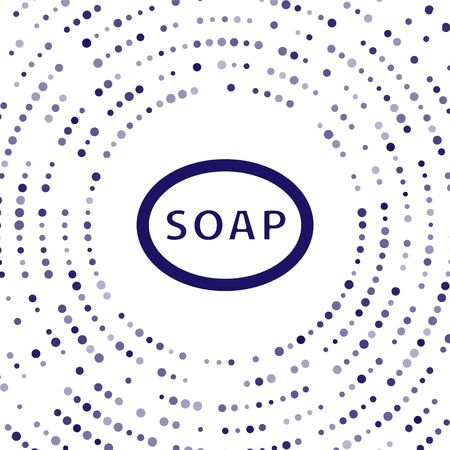 Blue Bar of soap icon isolated on white background. Soap bar with bubbles. Abstract circle random dots. Vector