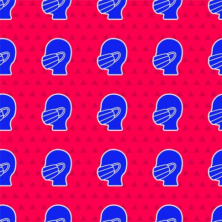 Blue Man face in a medical protective mask icon isolated seamless pattern on red background. Quarantine. Vector Illustration Ilustracja