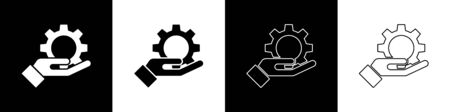 Set Settings in the hand icon isolated on black and white background. Vector