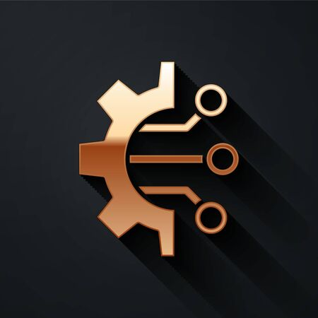 Gold Algorithm icon isolated on black background. Algorithm symbol design from Artificial Intelligence collection. Long shadow style. Vector