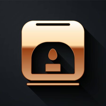 Gold Aroma lamp icon isolated on black background. Long shadow style. Vector Illustration