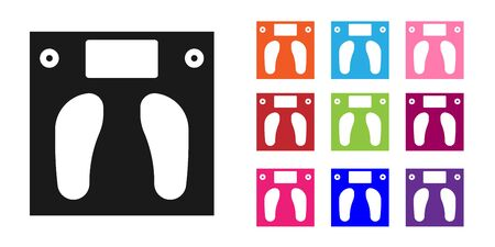 Black Bathroom scales icon isolated on white background. Weight measure Equipment. Weight Scale fitness sport concept. Set icons colorful. Vector