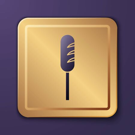 Purple Fried sausage icon isolated on purple background. Grilled sausage and aroma sign. Gold square button. Vector Stock Illustratie
