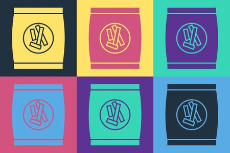 Pop art Hard bread chucks crackers icon isolated on color background. Vector Illustration