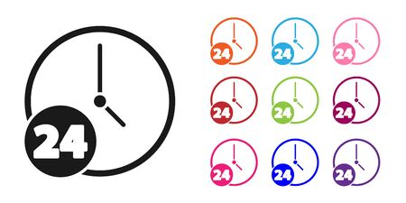 Black Clock 24 hours icon isolated on white background. All day cyclic icon. 24 hours service symbol. Set icons colorful. Vector Ilustracja