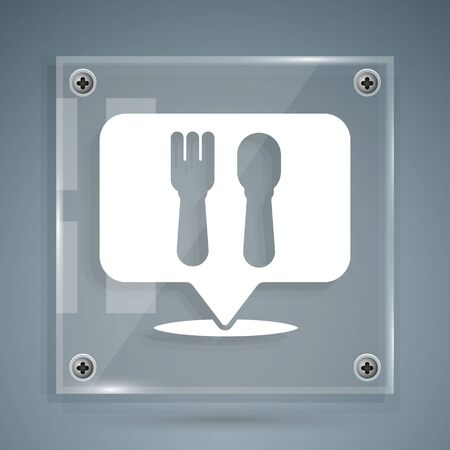 White Cafe and restaurant location icon isolated on grey background. Fork and spoon eatery sign inside pinpoint. Square glass panels. Vector Illustration.