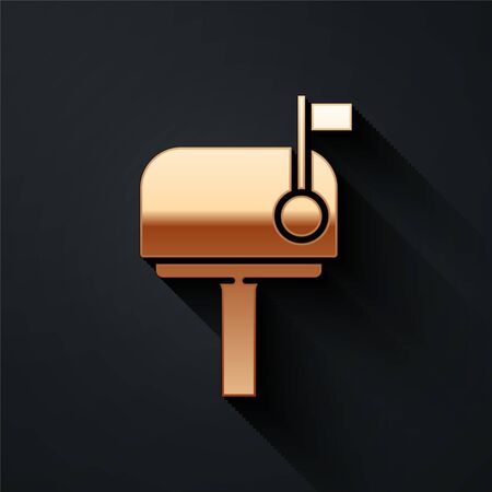 Gold Mail box icon isolated on black background. Mailbox icon. Mail postbox on pole with flag. Long shadow style. Vector Ilustracja