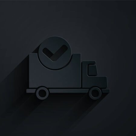 Paper cut Delivery truck with check mark icon isolated on black background. Paper art style. Vector Ilustracja