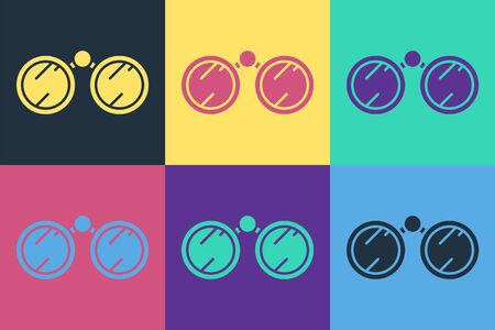 Pop art Binoculars icon isolated on color background. Find software sign. Spy equipment symbol. Vector Ilustracja