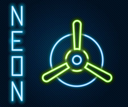 Glowing neon line Plane propeller icon isolated on black background. Vintage aircraft propeller. Colorful outline concept. Vector Vettoriali