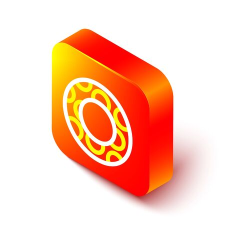 Isometric line Rubber swimming ring icon isolated on white background. Life saving floating lifebuoy for beach, rescue belt for saving people. Orange square button. Vector