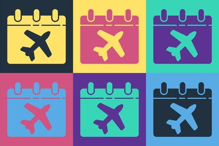 Pop art Travel planning calendar and airplane icon isolated on color background. A planned holiday trip. Vector Illusztráció