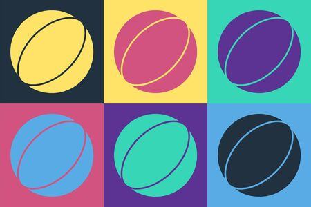 Pop art Beach ball icon isolated on color background. Vector Illustration