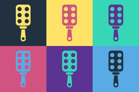 Pop art Spanking paddle icon isolated on color background. Fetish accessory. Sex toy for adult. Vector Vectores