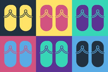 Pop art Flip flops icon isolated on color background. Beach slippers sign. Vector Illustration Ilustracja