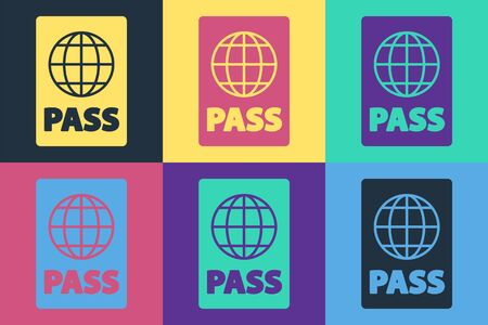 Pop art Passport with biometric data icon isolated on color background. Identification Document. Vector