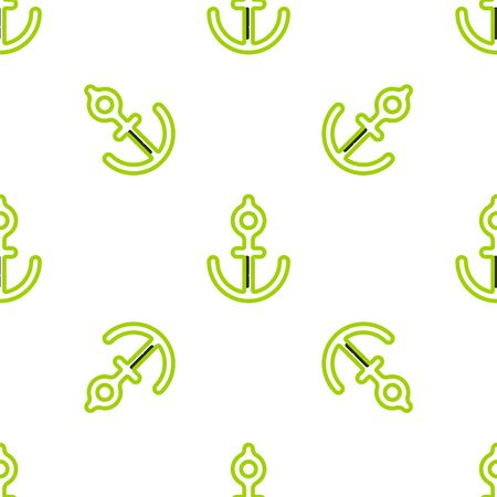 Line Anchor icon isolated seamless pattern on white background. Vector