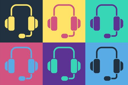 Pop art Headphones icon isolated on color background. Support customer service, hotline, call center, faq, maintenance. Vector