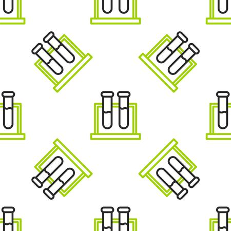 Line Test tube and flask chemical laboratory test icon isolated seamless pattern on white background. Laboratory glassware sign. Vector