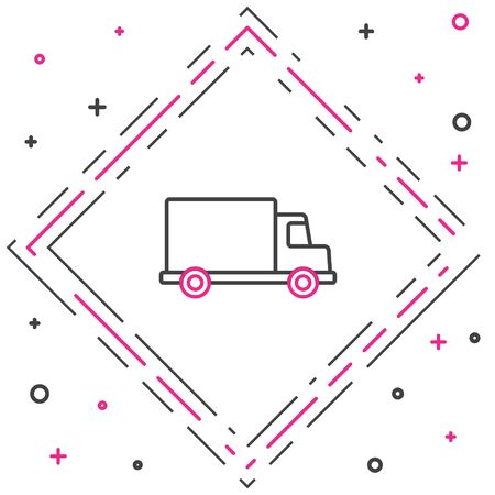 Line Delivery cargo truck vehicle icon isolated on white background. Colorful outline concept. Vector Stock Illustratie