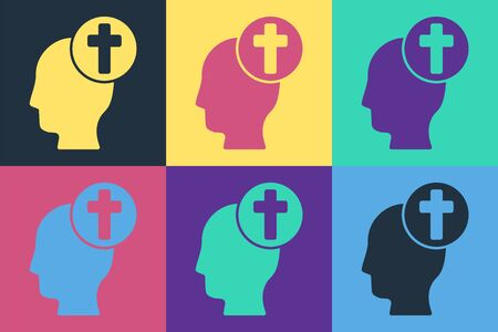 Pop art Human head with christian cross icon isolated on color background. Vector Illustration