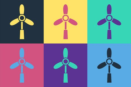 Pop art Wind turbine icon isolated on color background. Wind generator sign. Windmill for electric power production. Vector Illustration