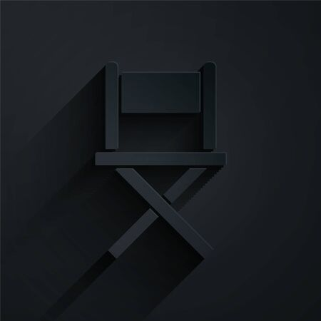 Paper cut Director movie chair icon isolated on black background. Film industry. Paper art style. Vector Illustration