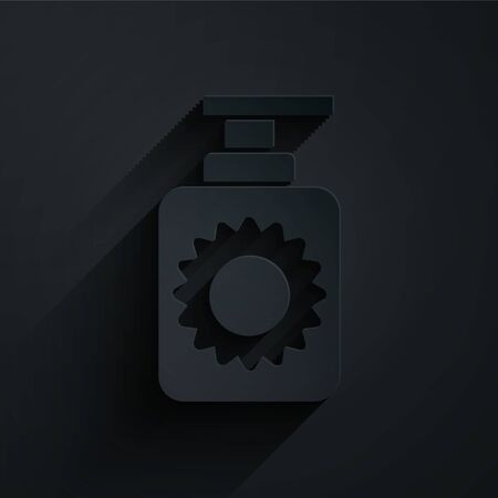 Paper cut Sunscreen spray bottle icon isolated on black background. Protection for the skin from solar ultraviolet light. Paper art style. Vector Illustration