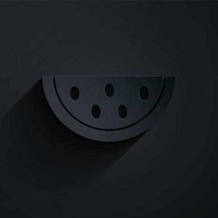 Paper cut Watermelon icon isolated on black background. Paper art style. Vector Illustration