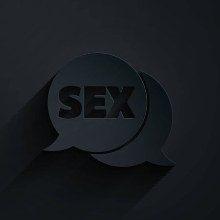 Paper cut Speech bubble with text Sex icon isolated on black background. Adults content only icon. Paper art style. Vector Illustration
