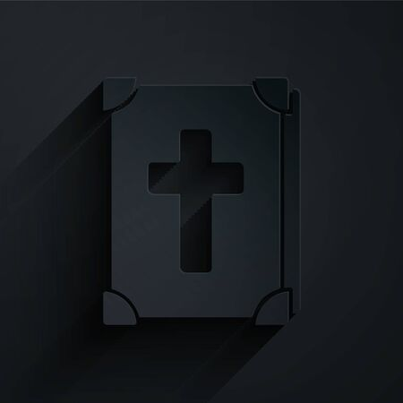 Paper cut Holy bible book icon isolated on black background. Paper art style. Vector