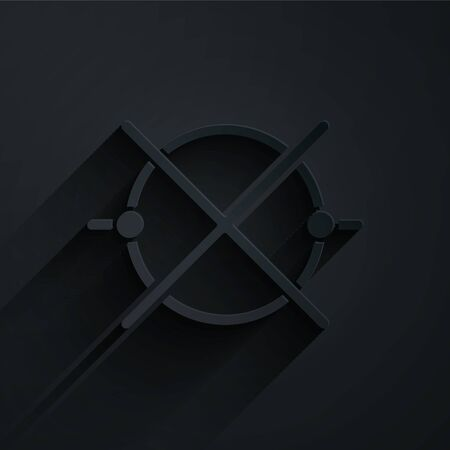 Paper cut Electric circuit scheme icon isolated on black background. Circuit board. Paper art style. Vector