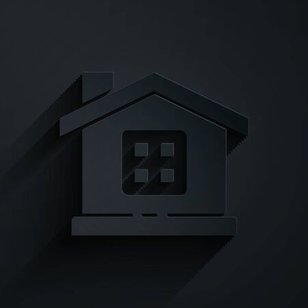 Paper cut House icon isolated on black background. Home symbol. Paper art style. Vector Ilustração