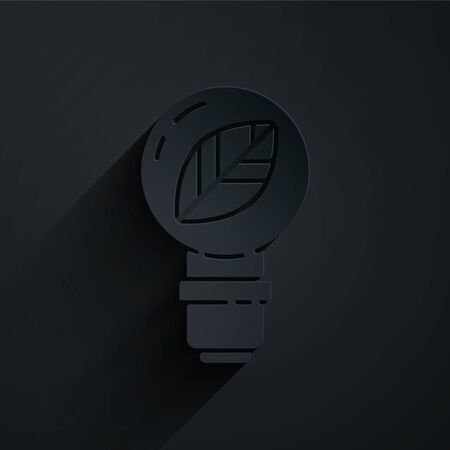 Paper cut Light bulb with leaf icon isolated on black background. Eco energy concept. Alternative energy concept. Paper art style. Vector Illustration Illustration
