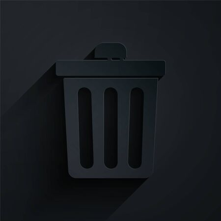 Paper cut Trash can icon isolated on black background. Garbage bin sign. Recycle basket icon. Office trash icon. Paper art style. Vector Illustration Иллюстрация
