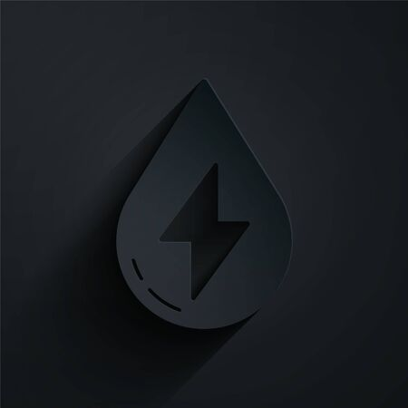 Paper cut Water energy icon isolated on black background. Ecology concept with water droplet. Alternative energy concept. Paper art style. Vector Illustration