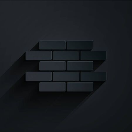 Paper cut Bricks icon isolated on black background. Paper art style. Vector