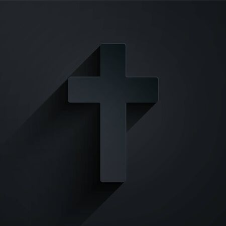 Paper cut Christian cross icon isolated on black background. Church cross. Paper art style. Vector Иллюстрация