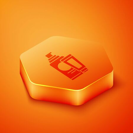 Isometric Cream or lotion cosmetic tube icon isolated on orange background. Body care products for men. Orange hexagon button. Vector Illustration