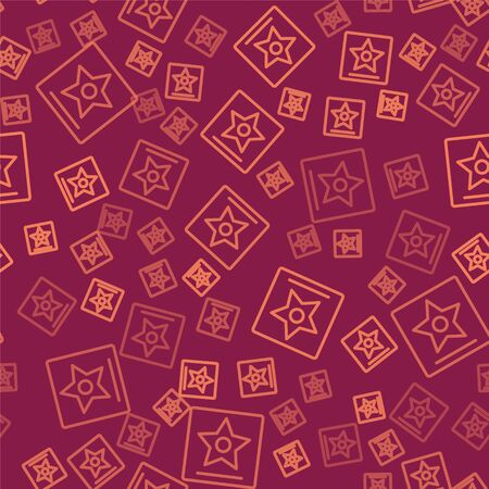 Brown line  star  seamless pattern on red background.