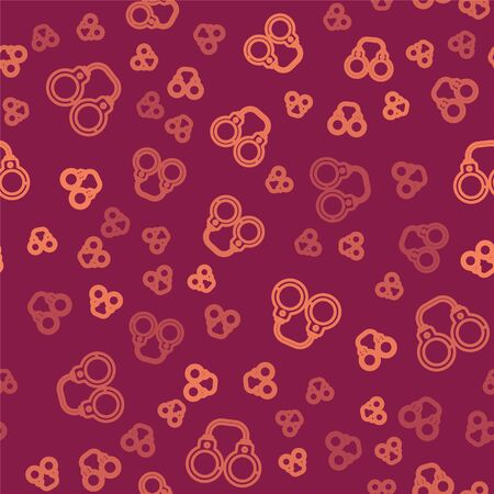 Brown line Sexy fluffy handcuffs icon isolated seamless pattern on red background. Fetish accessory. Sex shop stuff for sadist and masochist. Vector Illustration Çizim