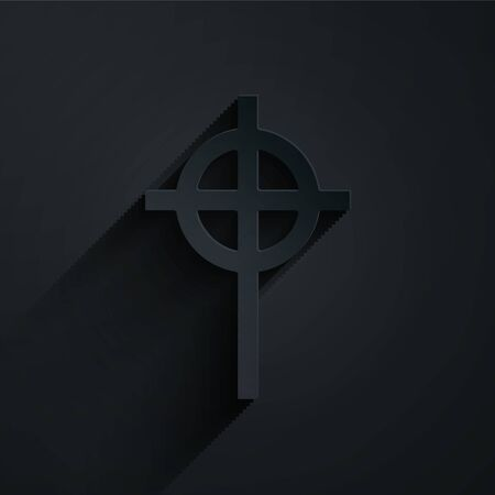 Paper cut Christian cross icon isolated on black background. Church cross. Paper art style. Vector Illustration