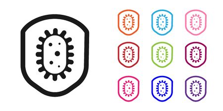 Black Shield protecting from virus, germs and bacteria icon isolated on white background. Immune system concept. Corona virus 2019-nCoV. Set icons colorful