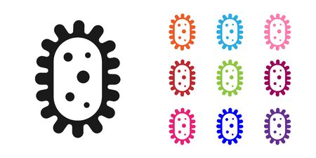 Black Virus icon isolated on white background. Corona virus 2019-nCoV. Bacteria and germs, cell cancer, microbe, fungi. Set icons colorful