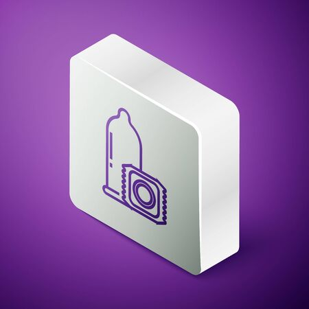 Isometric line Condom safe sex icon isolated on purple background. Safe love symbol. Contraceptive method for male. Silver square button. Vector Illustration Ilustrace