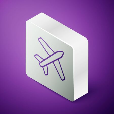 Isometric line Plane icon isolated on purple background. Flying airplane icon. Airliner sign. Silver square button Ilustrace