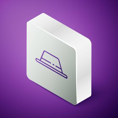 Isometric line Man hat with ribbon icon isolated on purple background. Silver square button. Vector Illustration Illustration