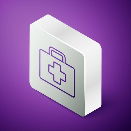 Isometric line First aid kit icon isolated on purple background. Medical box with cross. Medical equipment for emergency. Healthcare concept. Silver square button. Vector Illustration